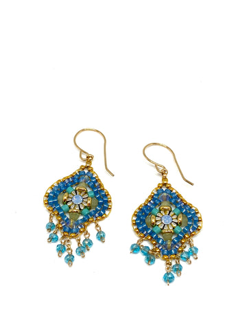 Miguel Ases Swarovski Crystal and Turquoise Miyuki Bead Earrings