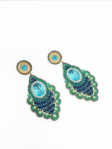 Miguel Ases Sapphire Hydro Quartz Earrings
