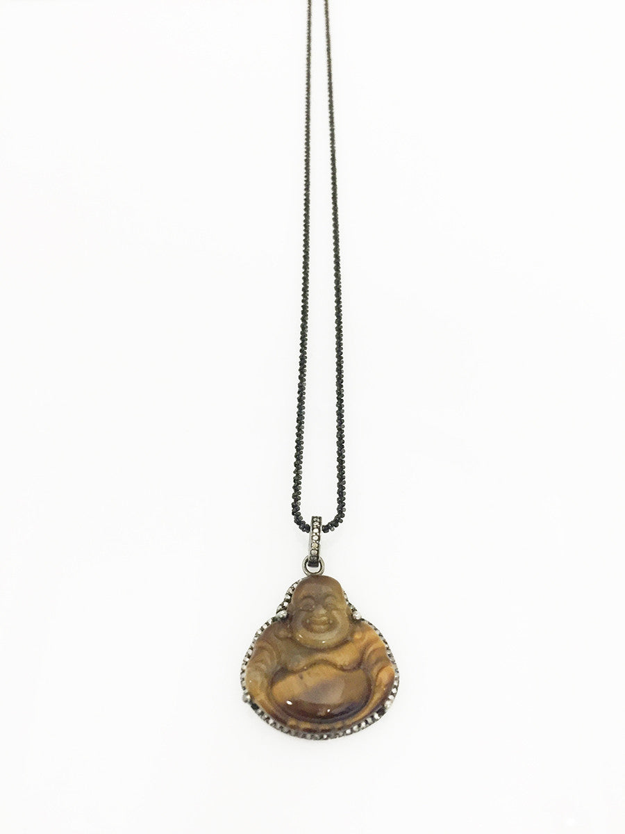 Margo Morrison Carved Tiger's Eye Buddha Pendant