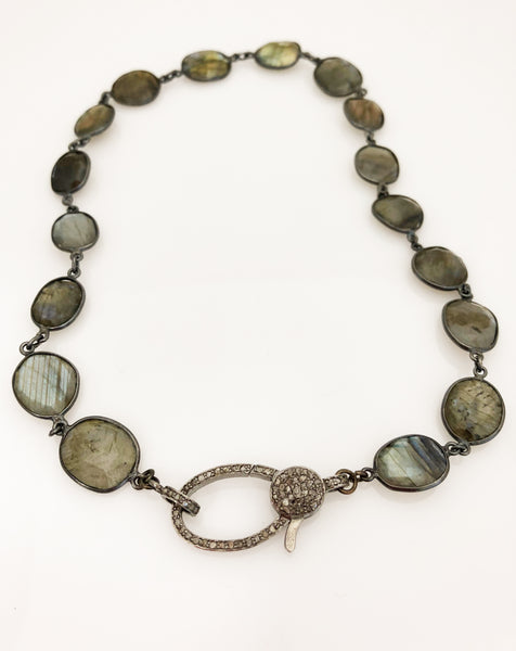 Geraldina Labradorite Bezel Necklace with Large Pave Clasp