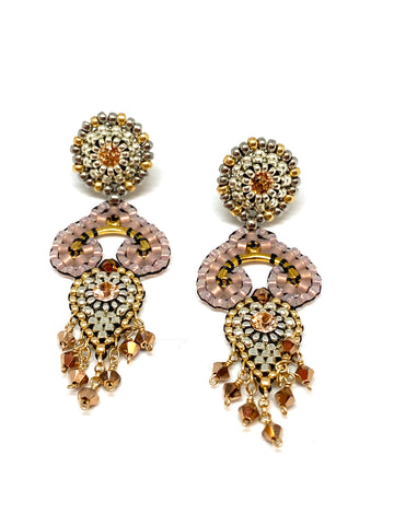 Miguel Ases Swarovski Crystals and Miyuki Bead Earrings with Round Post