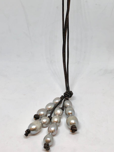 pearls on leather lariat