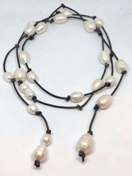 Long white Pearl Wrap Necklace