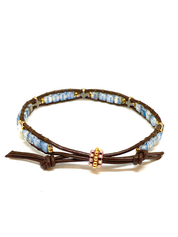 Miguel Ases Leather Bracelet with Swarovski and Miyuki Beads