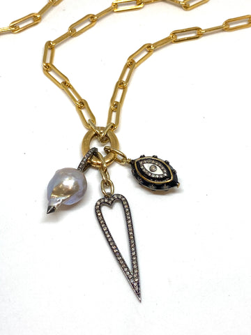 Nathan & Moe Gold Oval Link Necklace with Charms