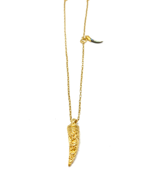 Heather Benjamin Gold Carved Horn Pendant Necklace