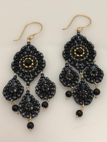 Miguel Ases Black Onyx and Gunmetal Earrings