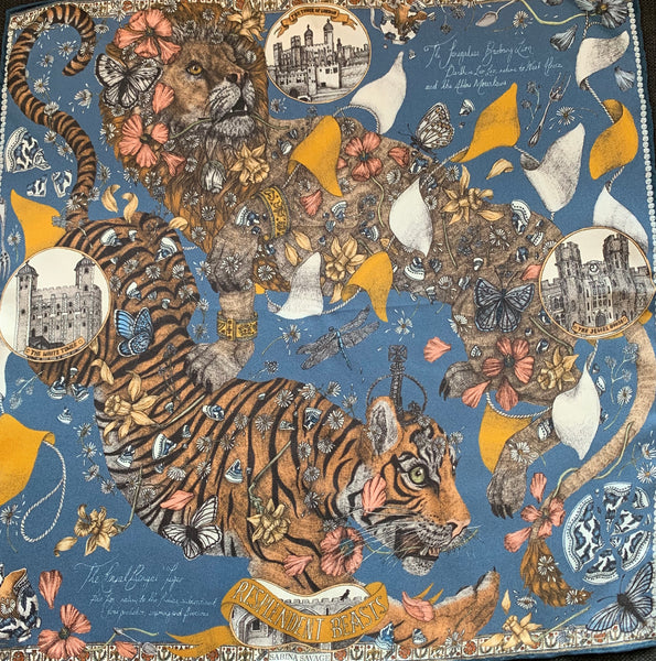 "Sabina Savage ""The Lion and Tiger's Tea"" Silk Scarf Sapphire"