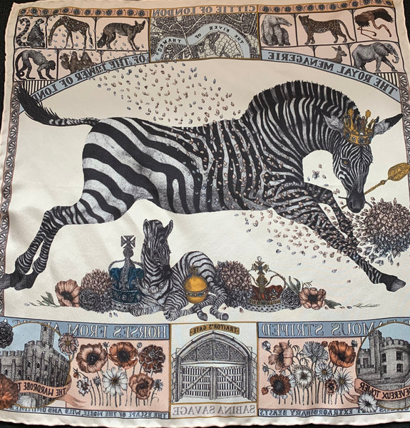 "Sabina Savage ""The Royal Striped Horses"" Small Silk Scarf"