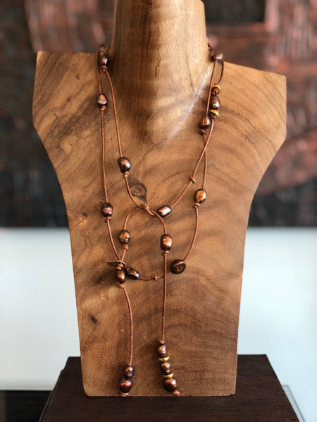 Copper Pearl and Leather wrap necklace