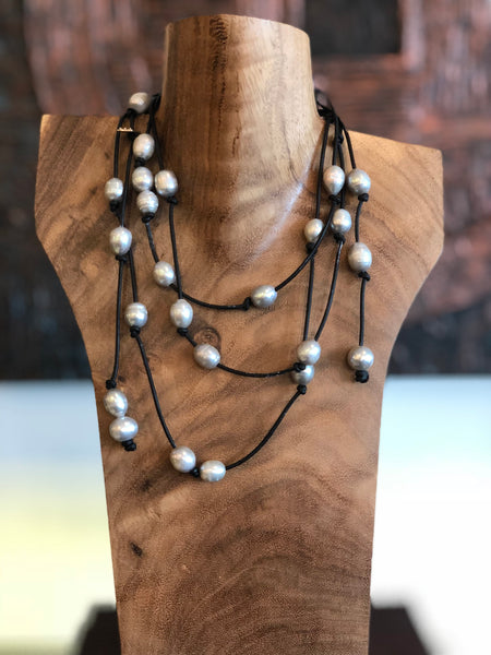 Light Grey Freshwater Pearls on Leather