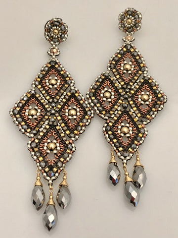 Miguel Ases Pyrite and Gunmetal Earrings