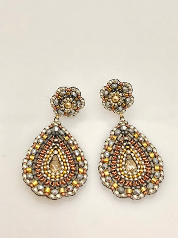 Miguel Ases Pyrite Swarovski and Gunmetal Earrings with Silver Rondells