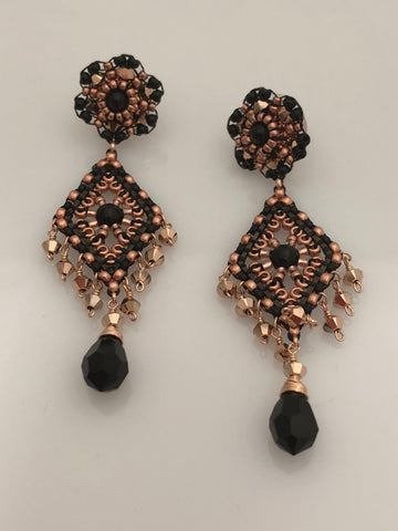 Miguel Ases Black Onyx and Gunmetal Earrings with rose gold Rondells