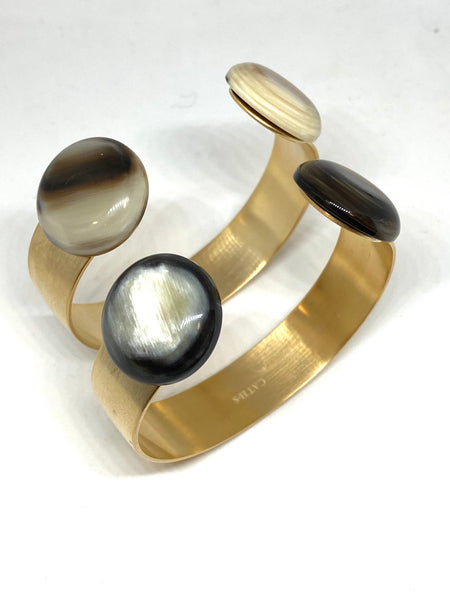 CATHs Bronze Cuff with Horn Cabochon