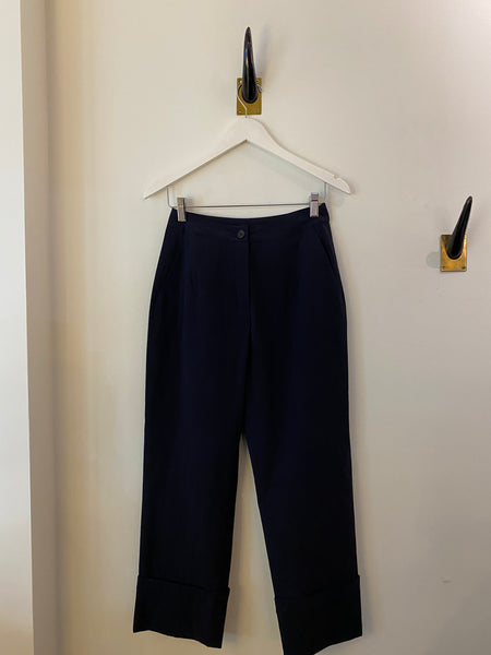 Peter O Mahler Cotton Stretch Pants with Turn Up Hem in black/navy found at PATRICIA in Southern Pines, NC
