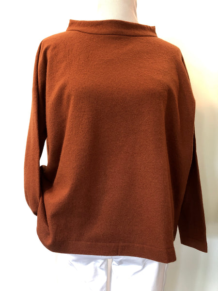 Peter O Mahler Wool Jersey Pullover with Stand-Up Collar