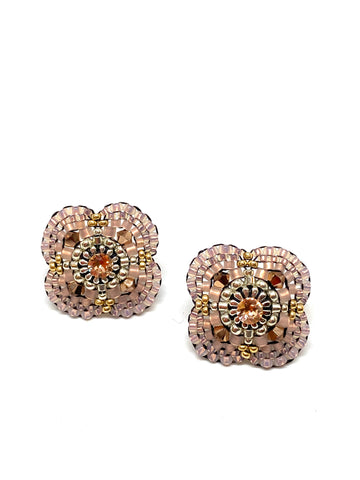 Miguel Ases Swarovski Crystals and Miyuki Beads Post Earrings