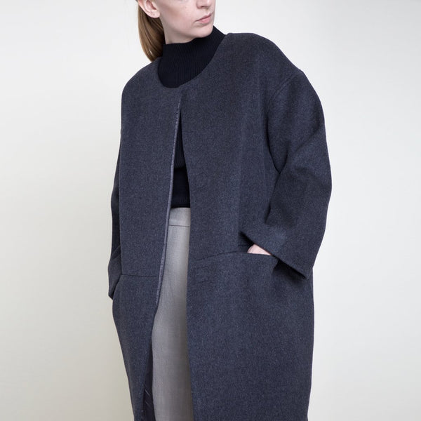 Szeki wool charcoal cocoon coat found at Patricia in Southern Pines, NC