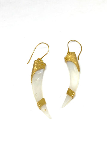 Heather Benjamin Banded Mother of Pearl Shard Earrings