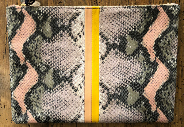 Clare V Blush Snakeskin Flat Clutch at PATRICIA in Southern Pines