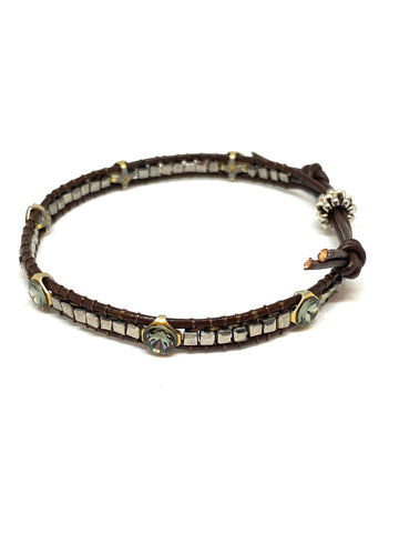 Miguel Ases Leather Bracelet with Swarovski, Pyrite and Miyuki Beads