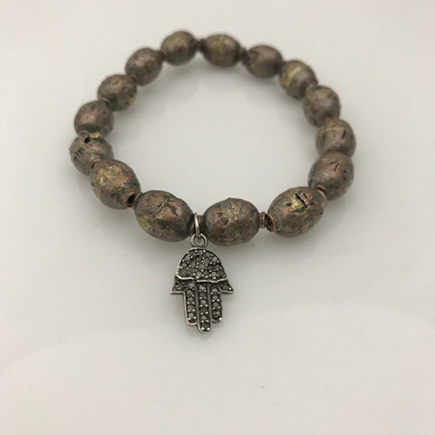 Geraldina Bangle Hamsa Hand on Tibetian Prayer Beads