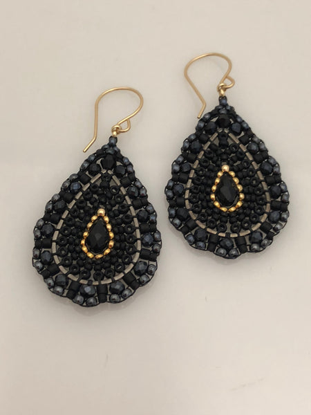 Miguel Ases Black Quartz, Gunmetal and Swarovski Earrings