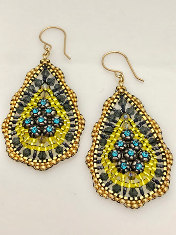 Miguel Ases Swarovski and Miyuki Earrings with Silver Rondells