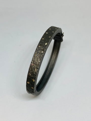 Nathan & Moe Textured Bracelet with diamonds
