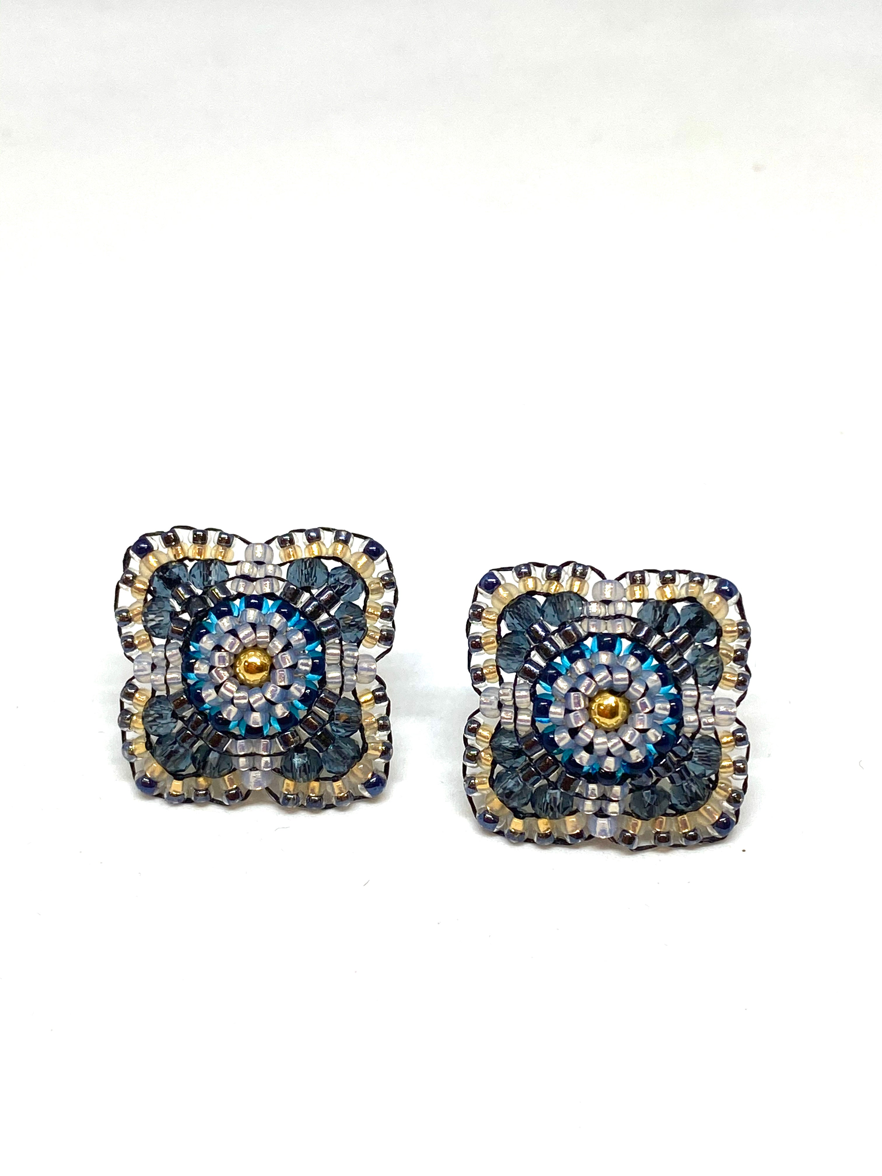 Miguel Ases Montana Hydro Quartz and Miyuki Bead Earrings with 18 KGP Rondelle