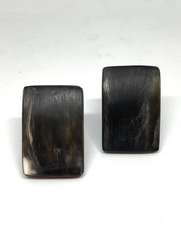 CATHs Black/Gray Horn Curved Plaque Clip-on Earrings