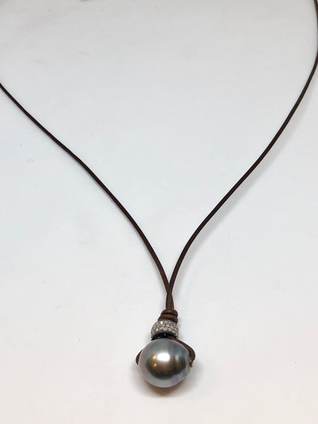 Perle By Lola Tahitian Pearl and Diamond Rondelle on Leather Necklace