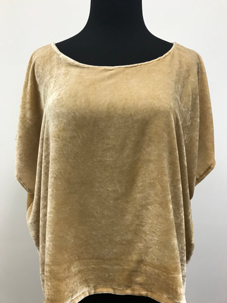 Women's gold velvet top with scoop neck