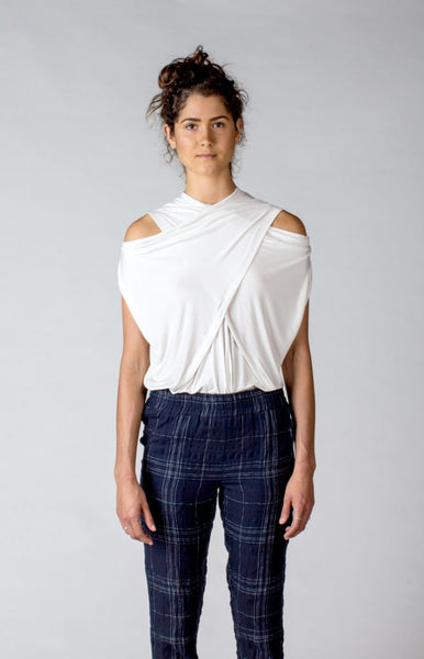 Laura Siegel Jersey Cold-Shoulder Top