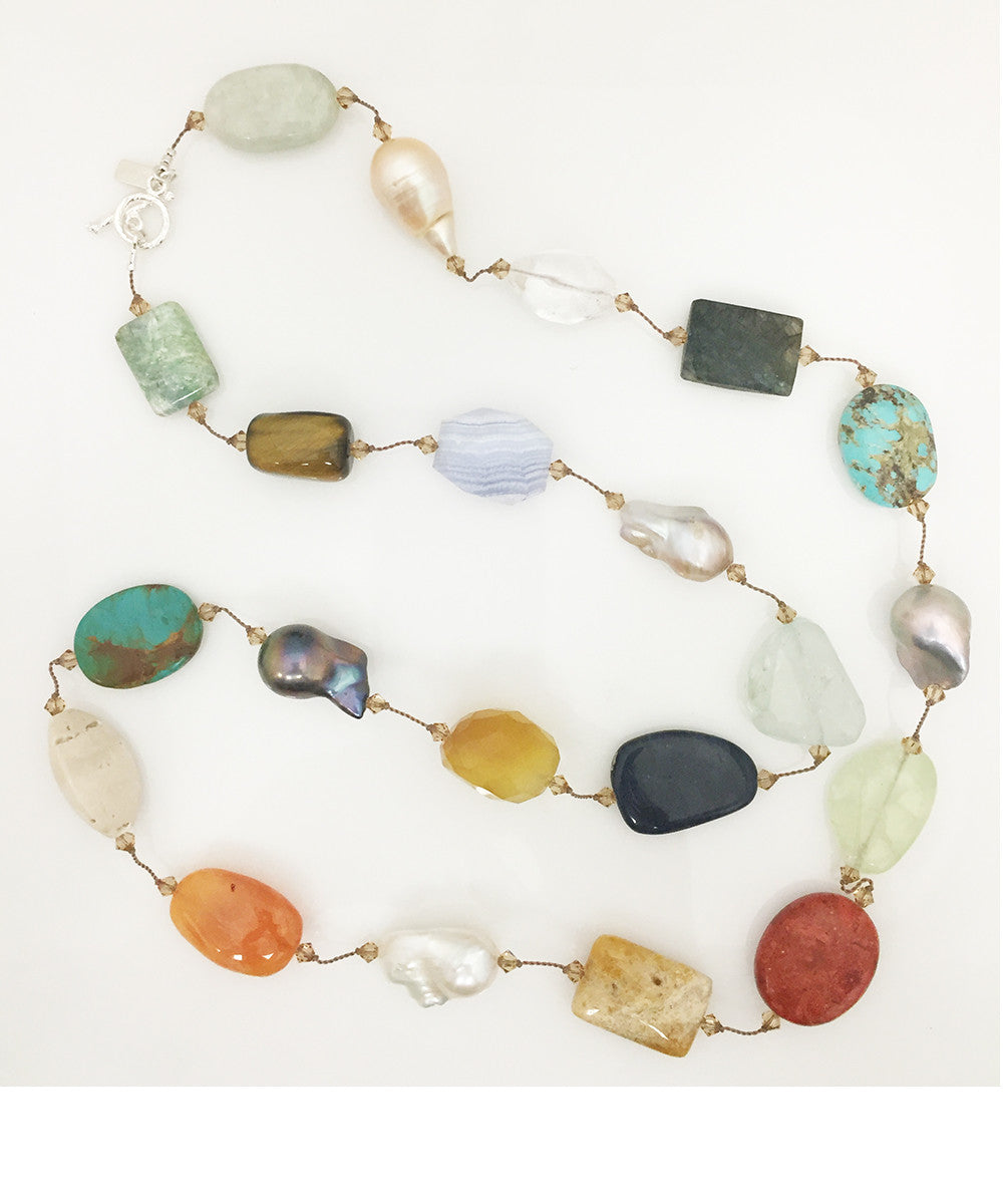 Margo Morrison Large Multi-Stone and Baroque Pearl Necklace