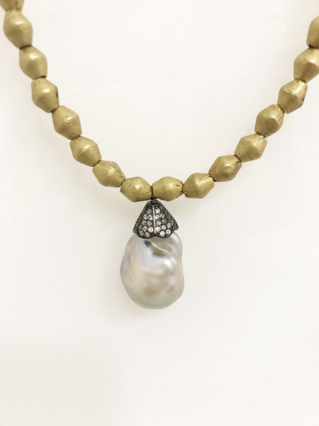 Brass Bead and Pearl necklace