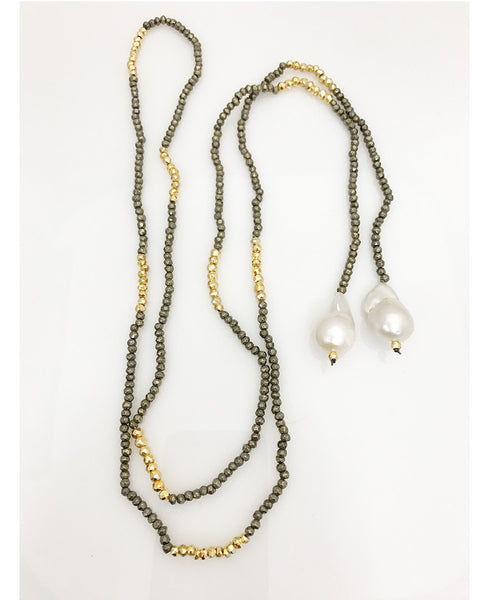 Facetted Pyrite Lariat with Baroque Pearls