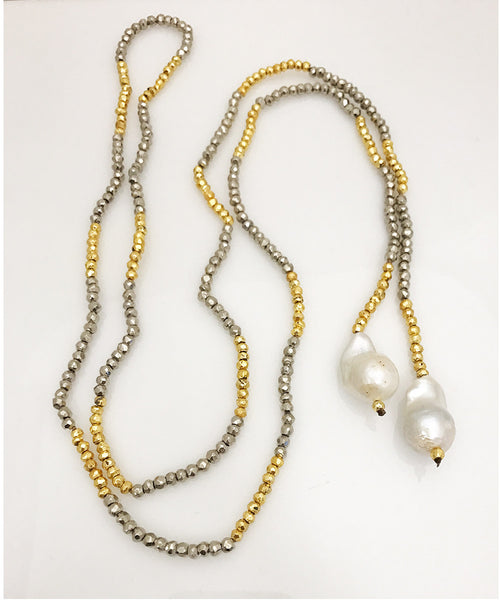 Facetted Silver Pyrite Lariat with Baroque Pearls