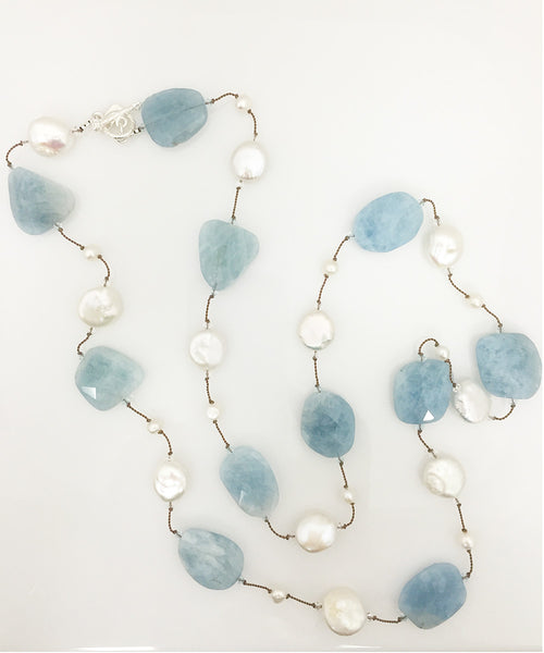 Margo Morrison Long Faceted Aquamarine Necklace with Pearls and Swarovski Crystals