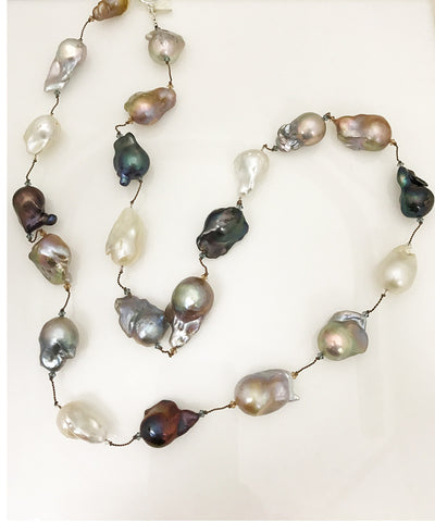 Margo Morrison Organic Shaped Multi Colored Baroque Pearl Necklace