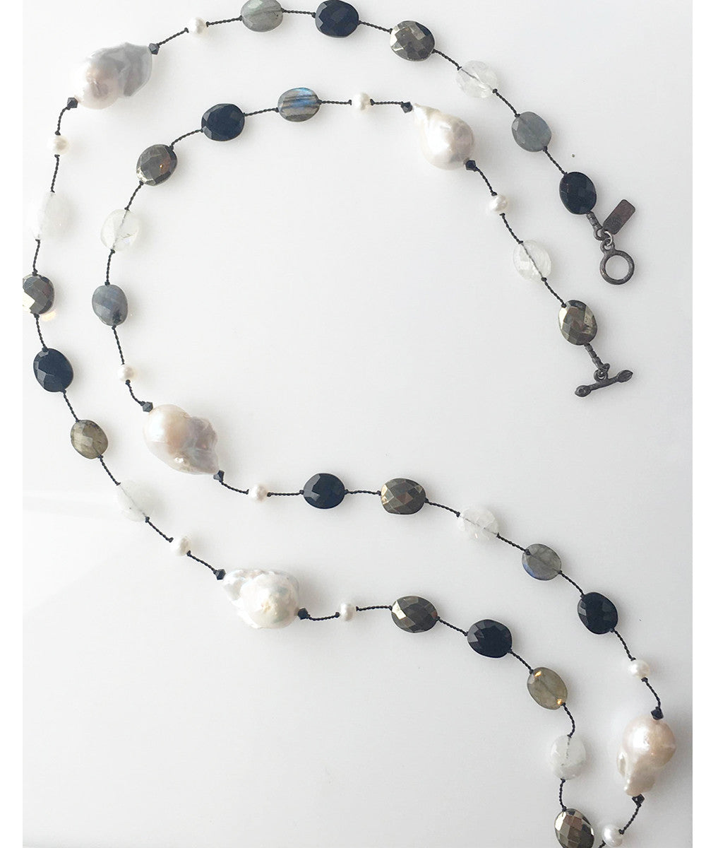 Margo Morrison Baroque Pearl Necklace with Labradorite and Multi-Color Stones