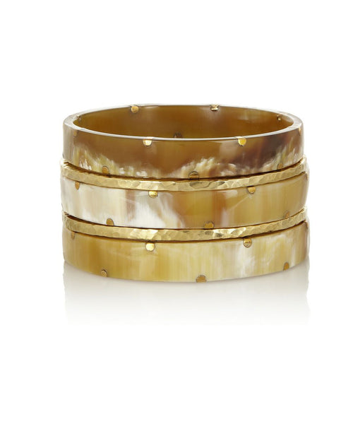 Ashley Pittman Makali Bangle Set Light Horn