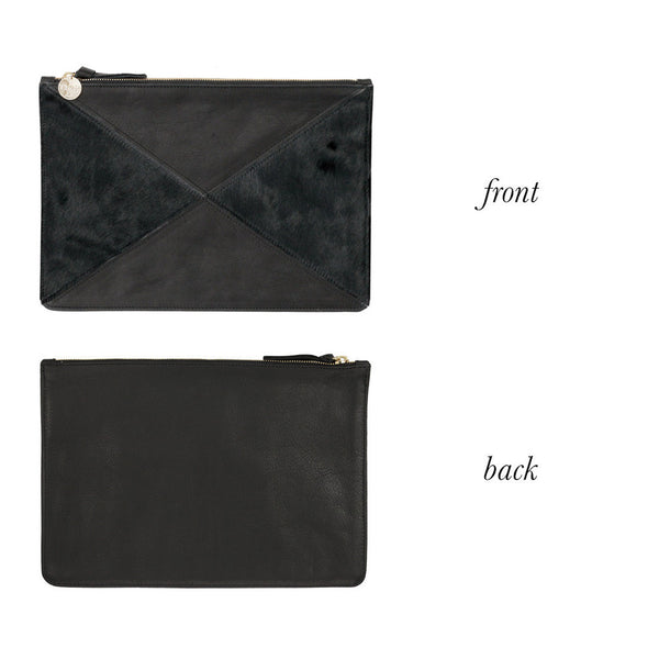 Clare V. Margot X Flat Clutch - Black Hair On Calf/Black Velvet Leather