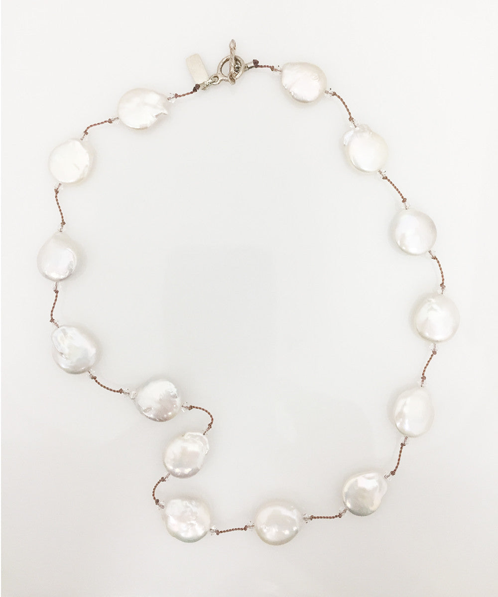 Margo Morrison White Freshwater Coin Pearl Necklace
