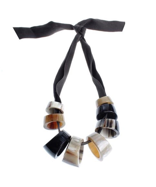 CATHs Ribbon Necklace with Horn Beads