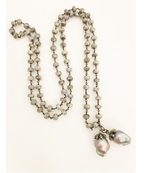 Nathan & Moe White Sapphire and Gray Baroque Pearl Necklace