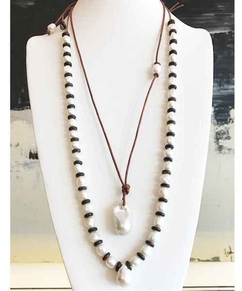 36mm Baroque Pearl on leather necklace