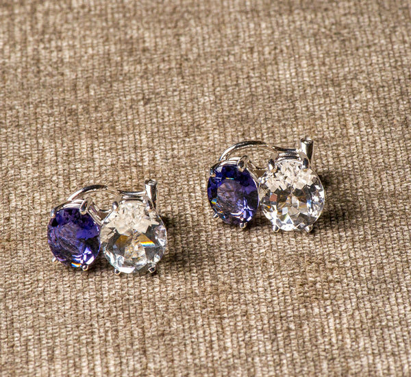 DFS 14KWG Iolite and White Topaz earrings