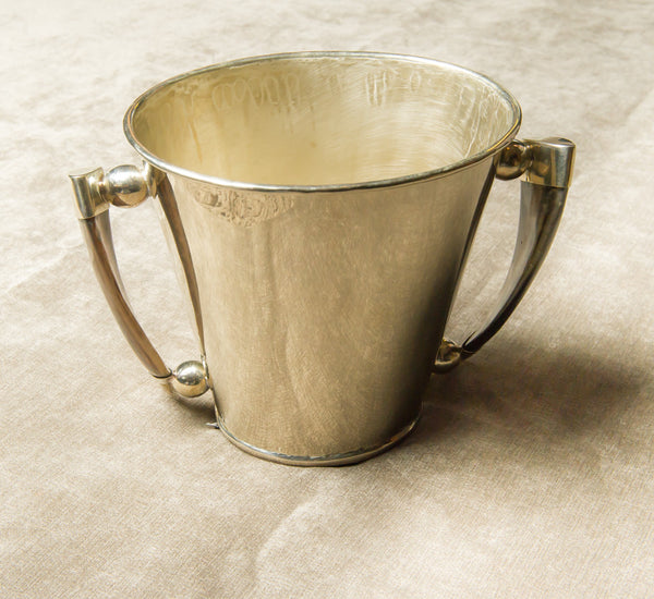 Sterling Silver Ice Bucket with Horn Handles
